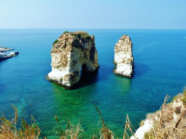 """Pigeons Rock"" ""Corniche"" ""Raouche"" ""Avenue de Paris"" ""Beirut"" ""Lebanon"" ""Middle East"" ""sights"" ""things to see"" ""travel"" ""explore"" ""wanderlust"" ""national symbol"" ""Mediterranean Sea"""