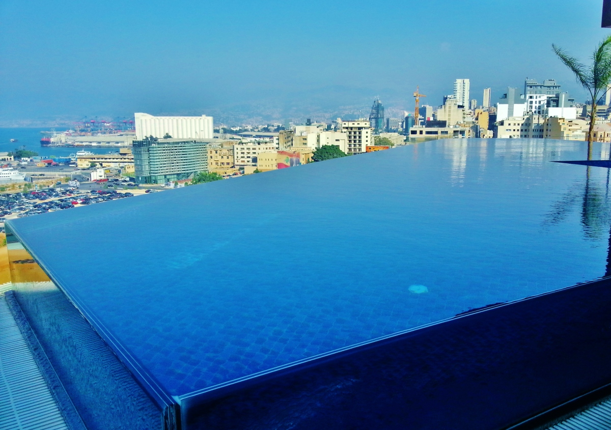 Rooftop infinity pool le gray hotel luxury hotel beirut lebanon middle east design feat for Indoor swimming pool in lebanon