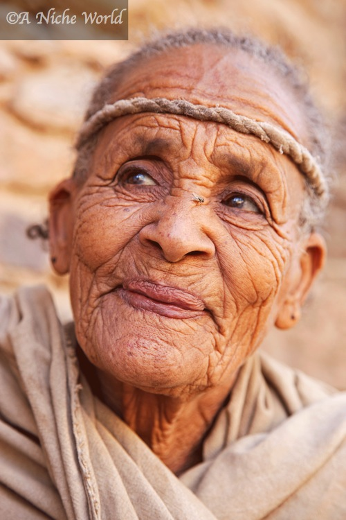 Elderly Ethiopian woman at church