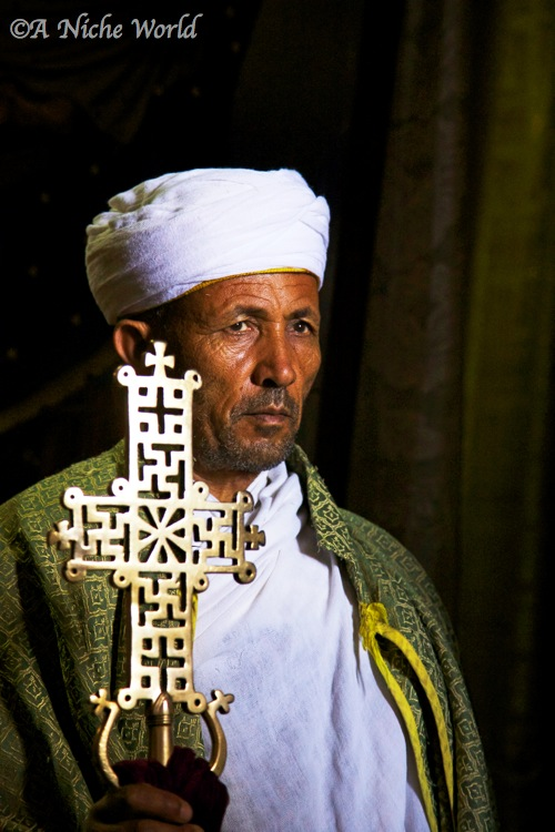 Christian Orthodox priest at a rock-hewn church in Lalibela