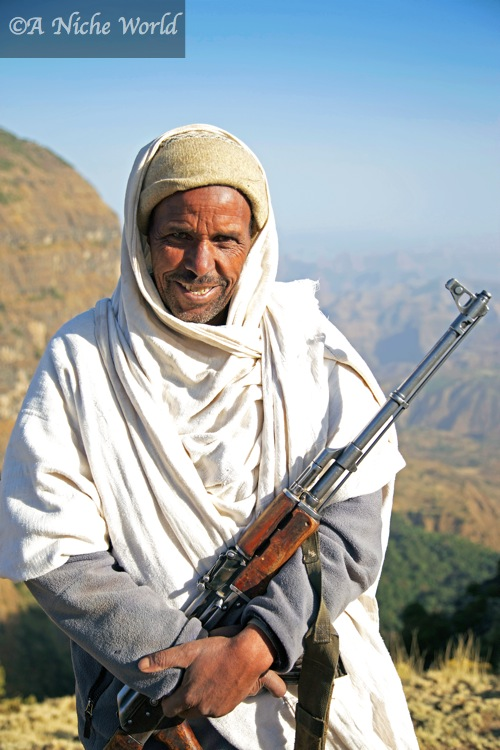 My private Simien Mountains ranger armed with Kalashnikov, North Ethiopia