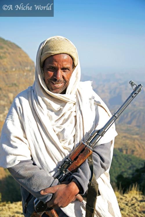 My private Simien Mountains ranger armed with Kalashnikov, North Ethiopia