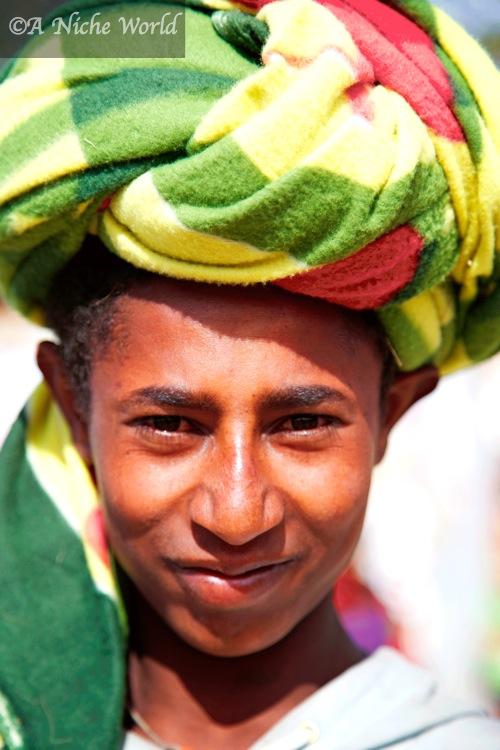 Elaborate Ethiopian head-dresses seen at village markets