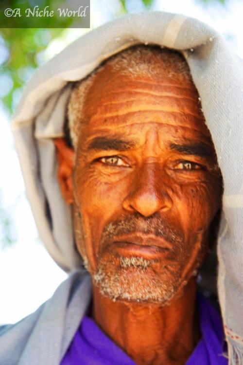 Ethiopian man under his 'sunhat' at Blue NIle Falls